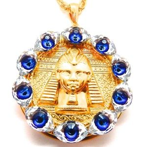 EGYPTIAN GOLD EYE OF GOD MEDALLION NECKLACE NEW
